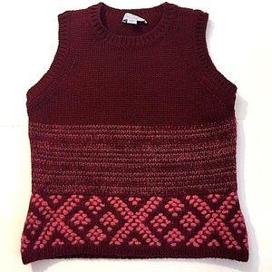 Strenesse BLUE Wool knit Crochet Sweater Vest